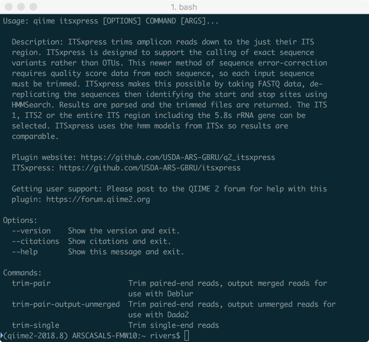 Q2_ITSxpress: A Qiime2 plugin to rapidly trim the Internally